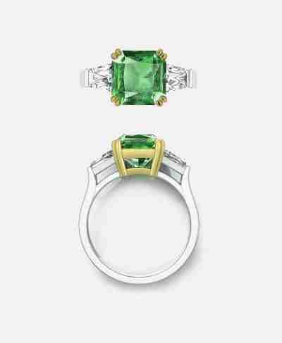 Mortinal Setting, Emerald Engagement Ring
