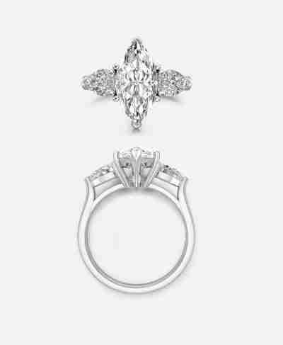 Castel Setting, Marquise Three Stone Engagement Ring