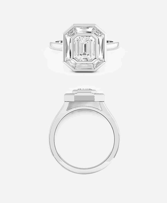 Carnegie Setting, Emerald Cut Halo Engagement Ring Guthrie's Jewellers