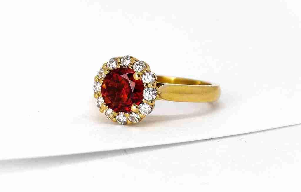 Ruby & Diamond Halo Ring