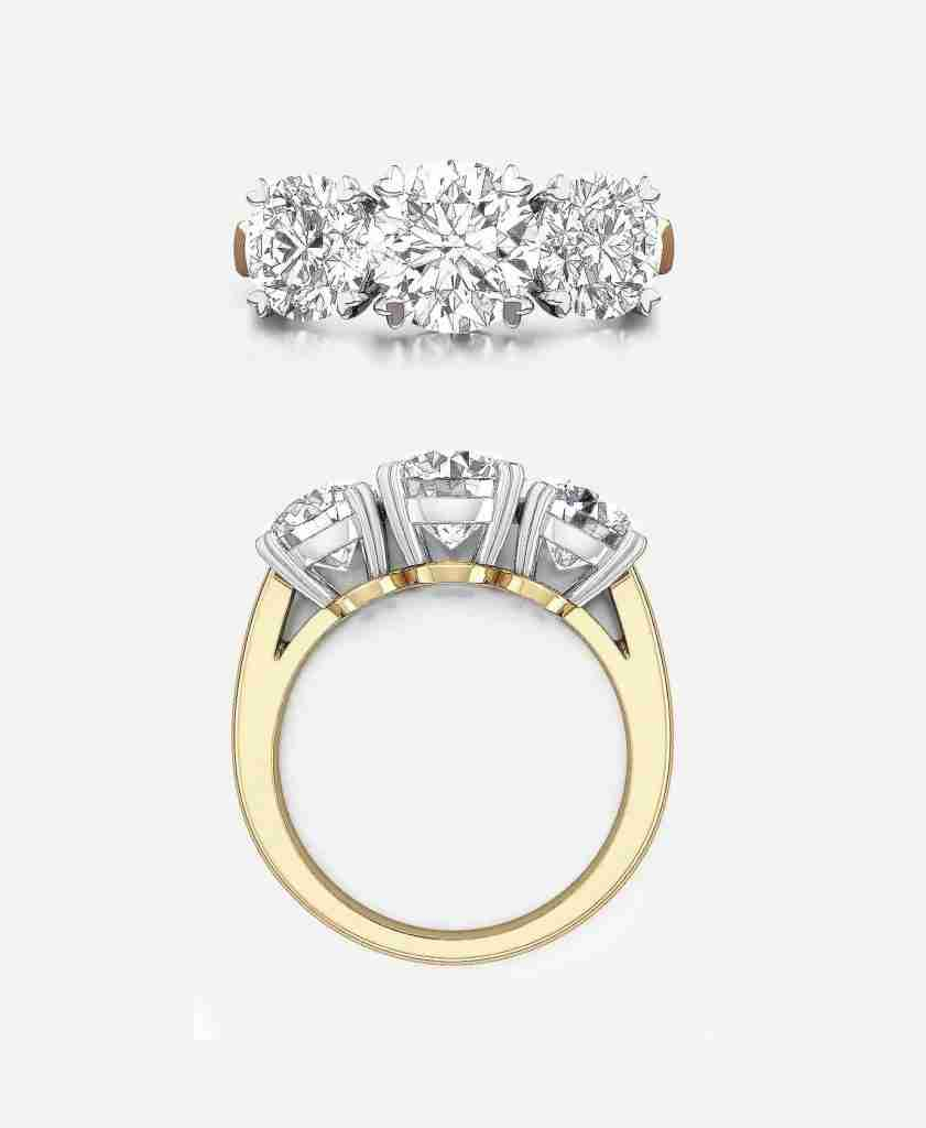 Three Stone Engagement Ring Design in Yellow Gold