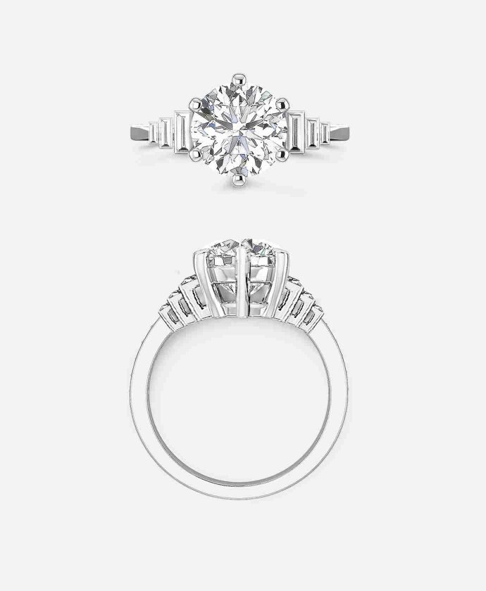 Madison Setting, Art Deco Solitaire Engagement Ring