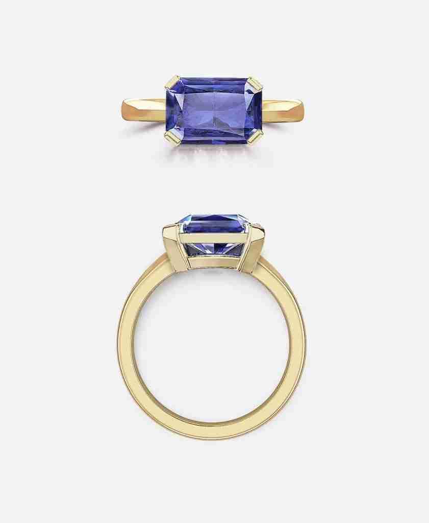 Horizontally Set Emerald Cut Sapphire Ring.